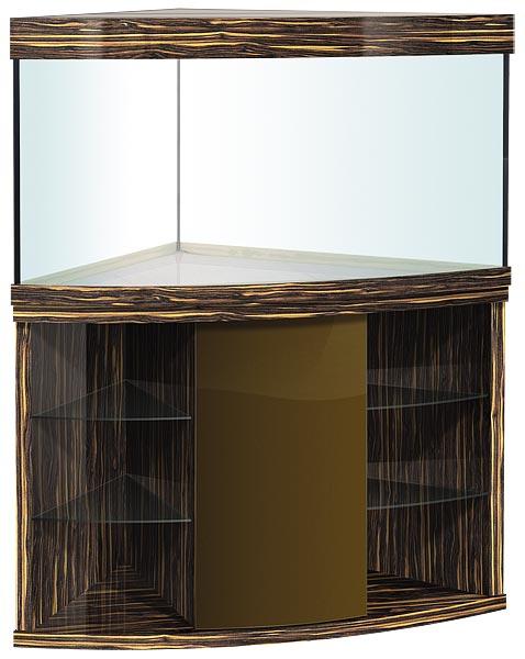Аквариум угловой с гнутым передним стеклом