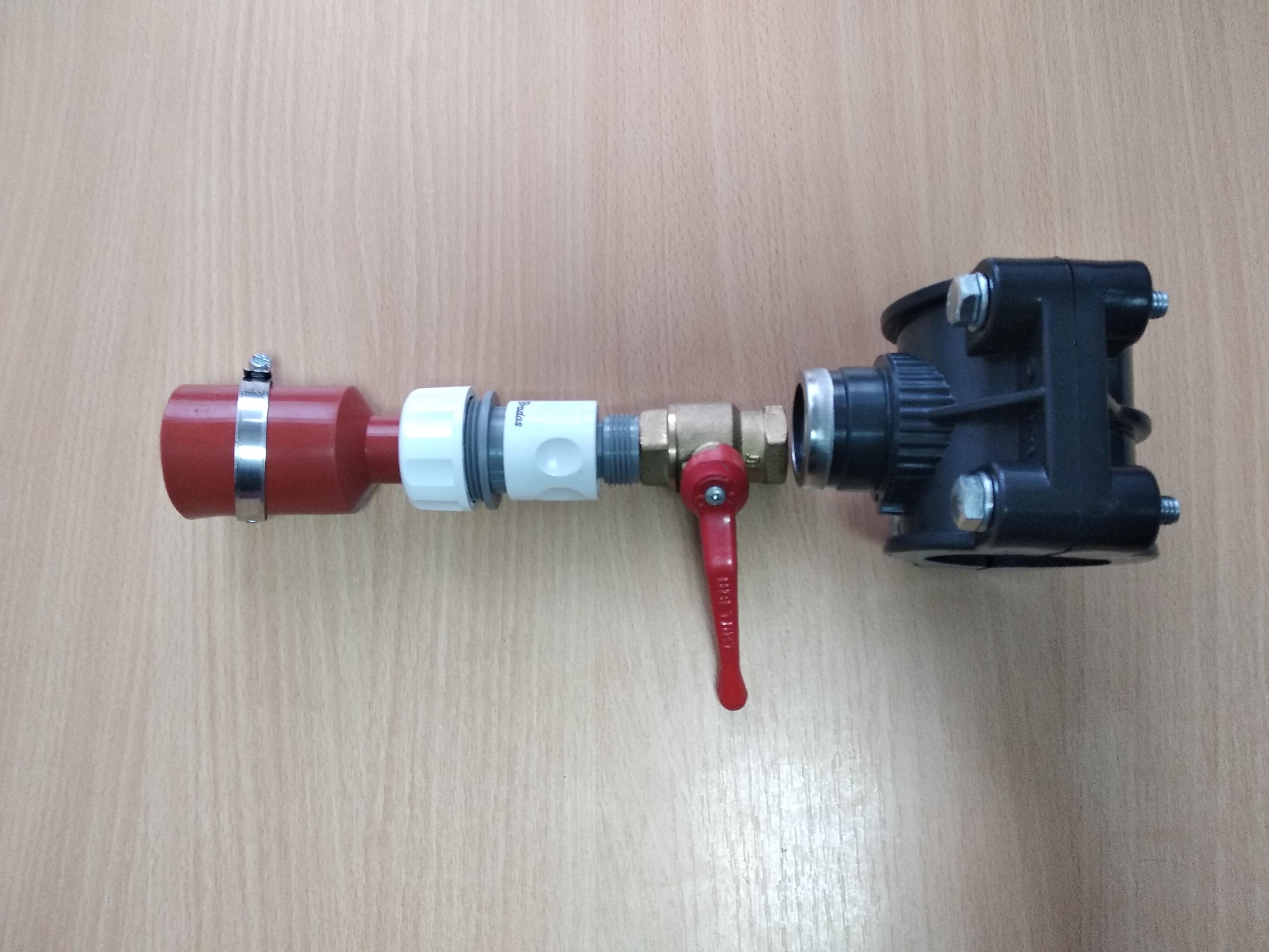 Первый вариант комплектации нижнего подвода
